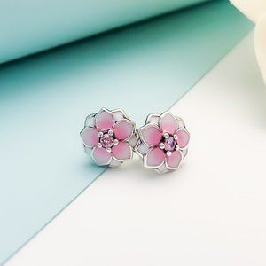 PANDORA Pink FLOWER Earring Studs